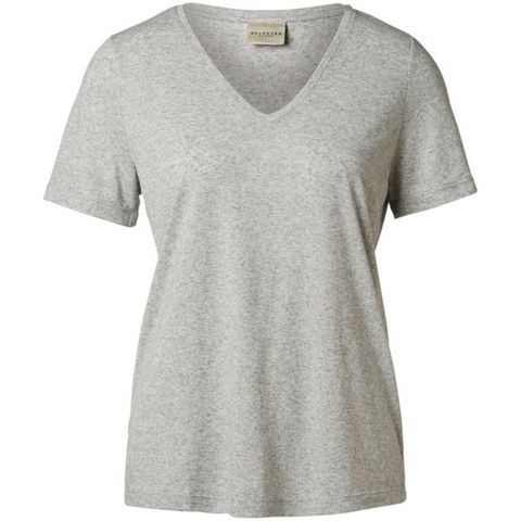 Selected Femme - T-Shirt - Marion - Light Grey Melange - 16051666
