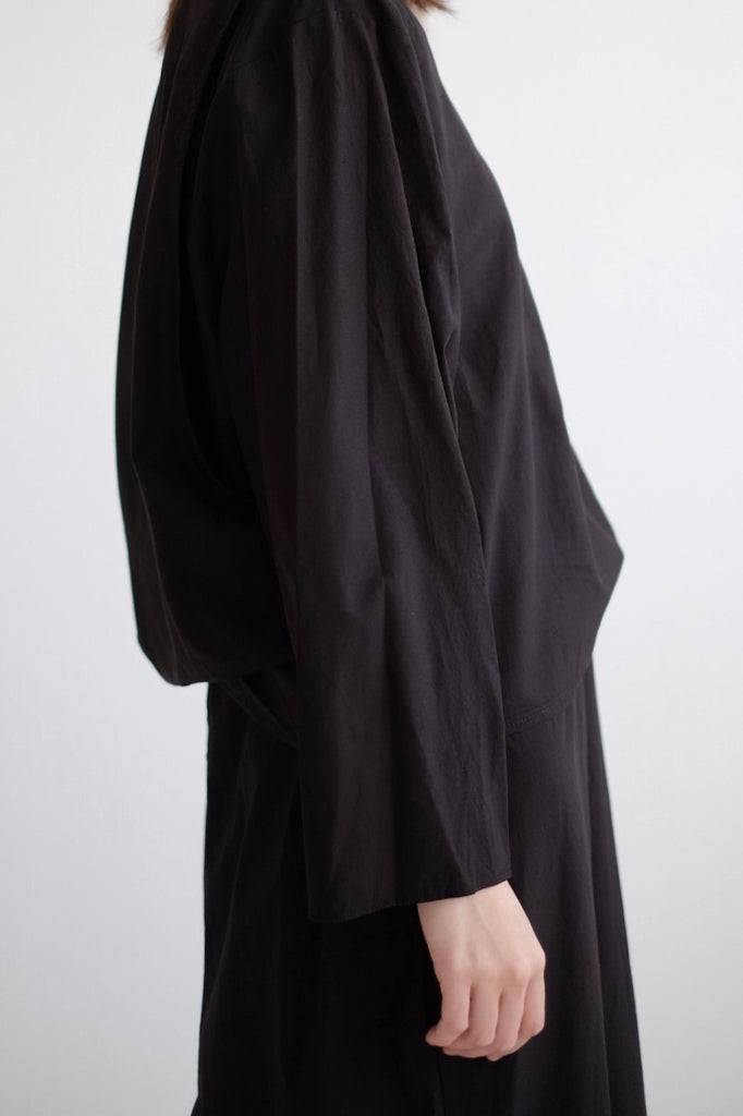 COTTON DRESS IN DOUBLE LAYERS (BLACK)