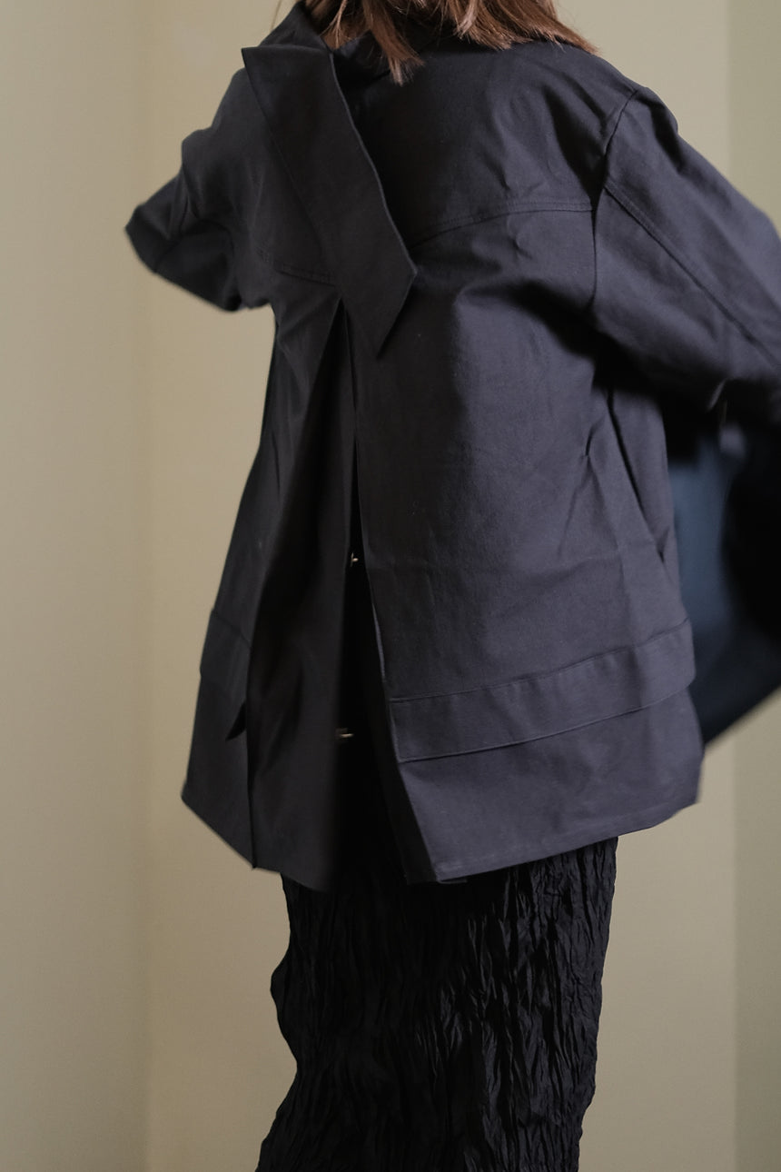 Trench coat with open back