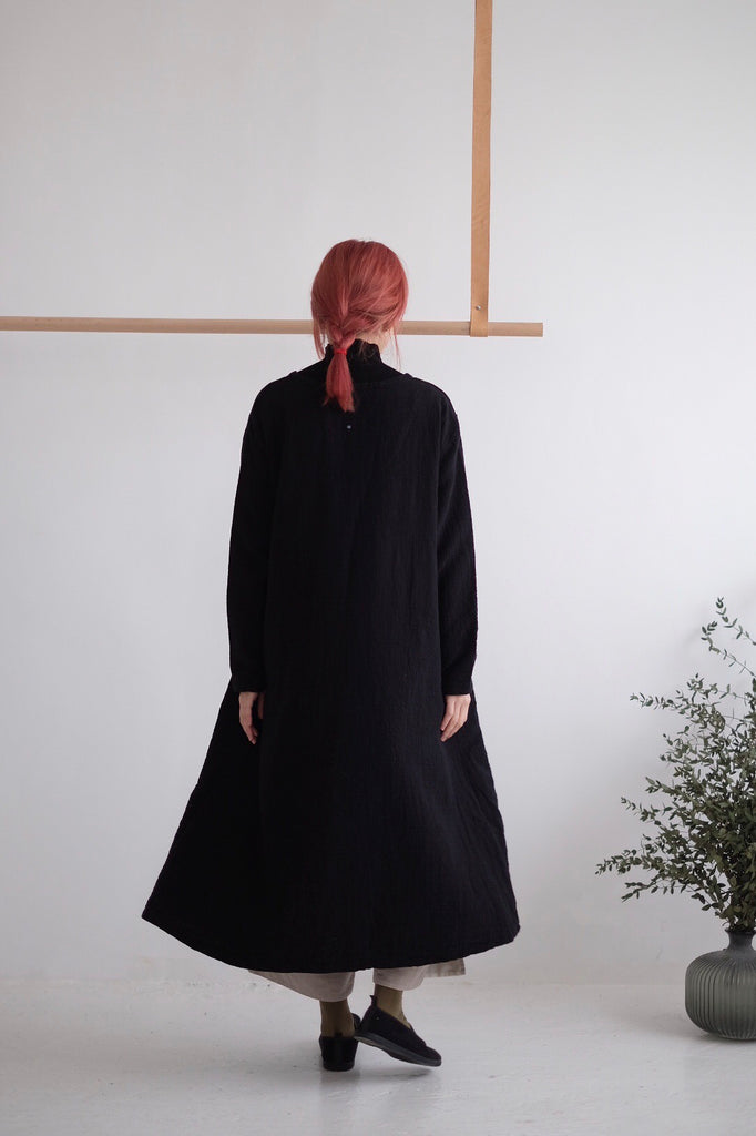 GRANDMA LINEN DRESS(black)