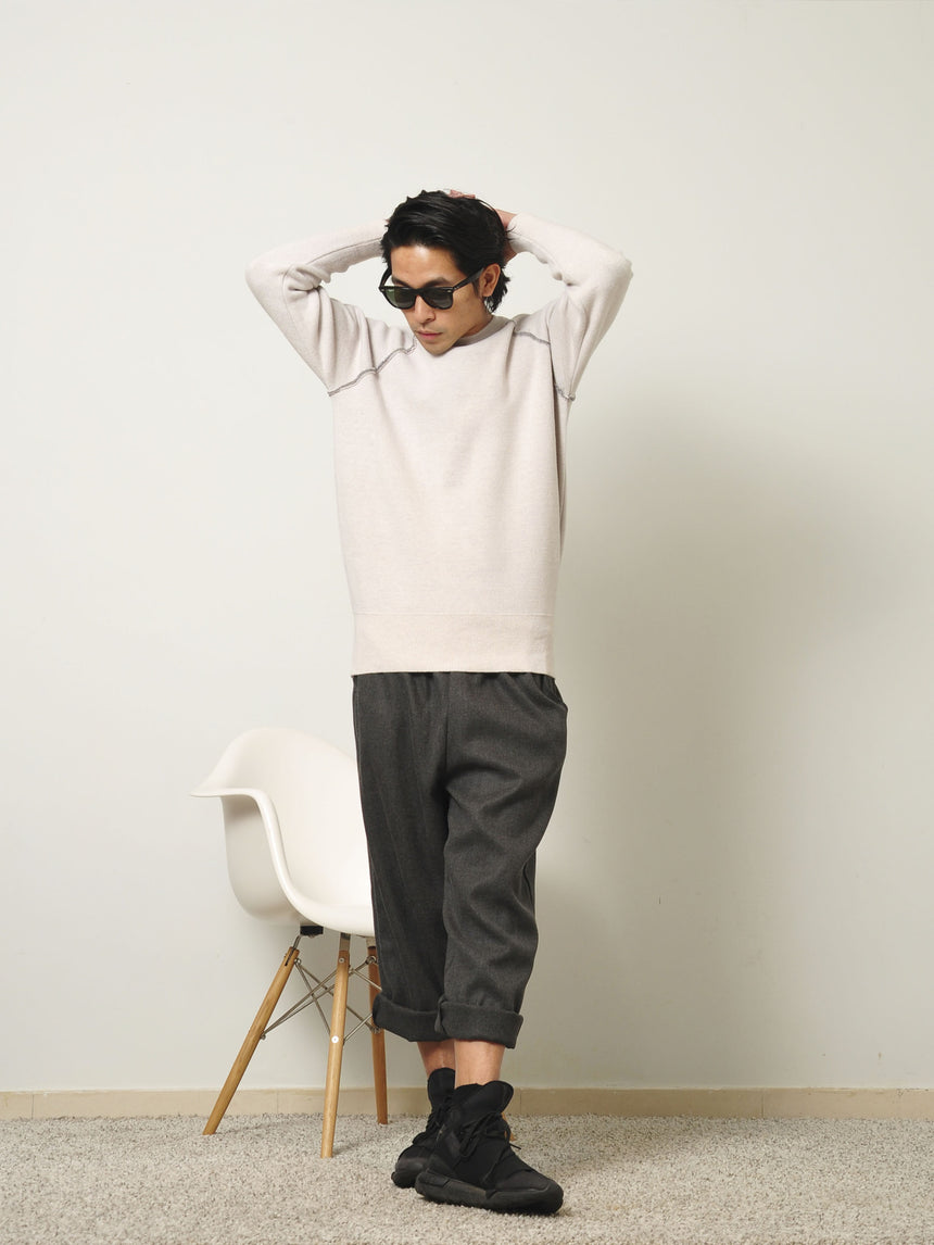KNITTED SWEATER IN RABBIT PINK/ GREY