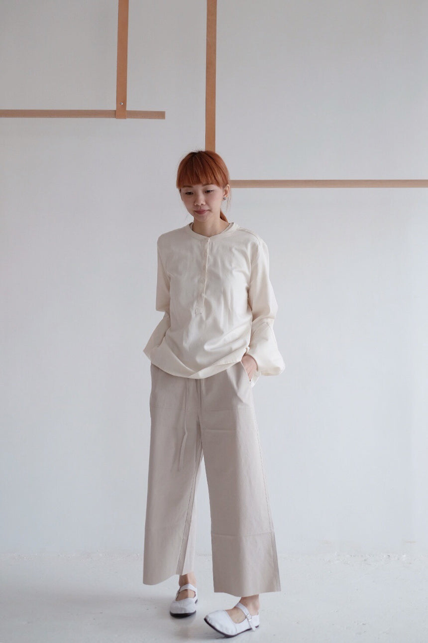 Cropped Trouser in Beige