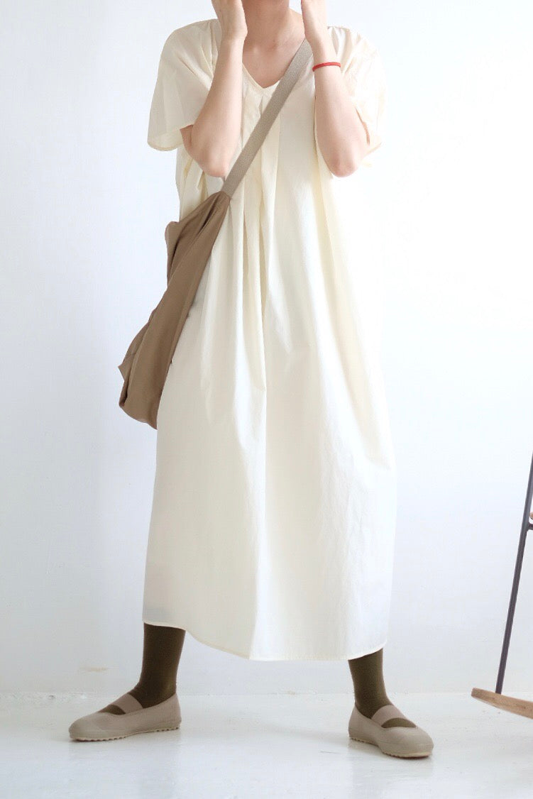 VOLUMINOUS-SKIRT COTTON DRESS