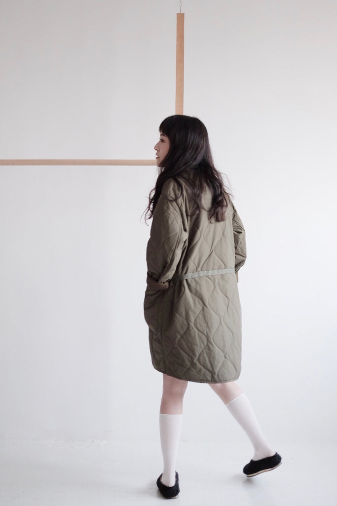 QUILTED JACKET/DRESS (ARMY GREEN)