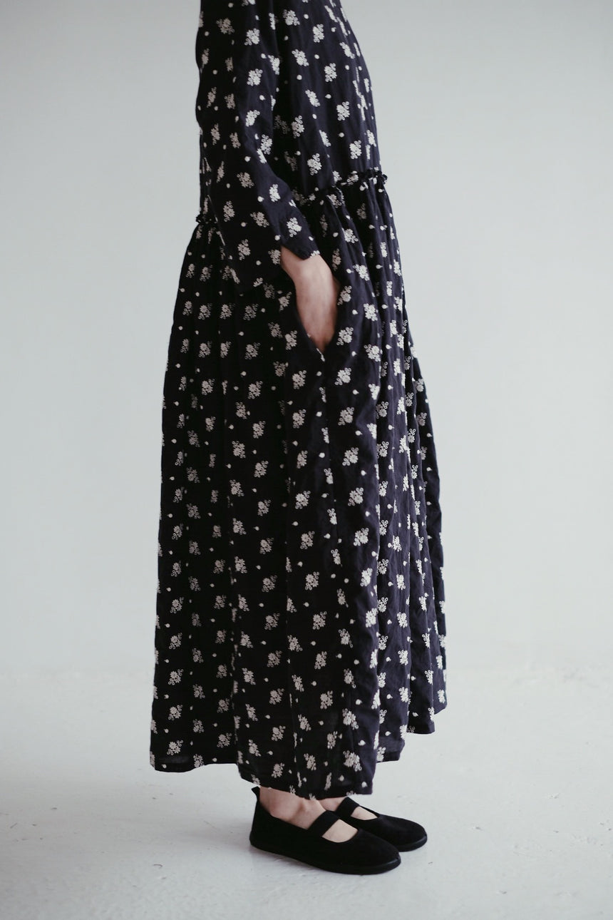 Navy Cotton Balloon Embroidered Dress