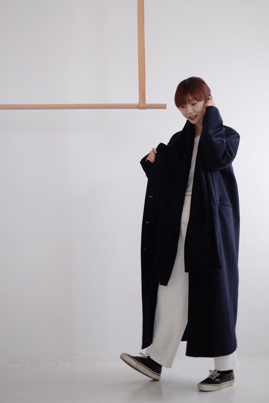 HARPER SCARF COAT(navy)