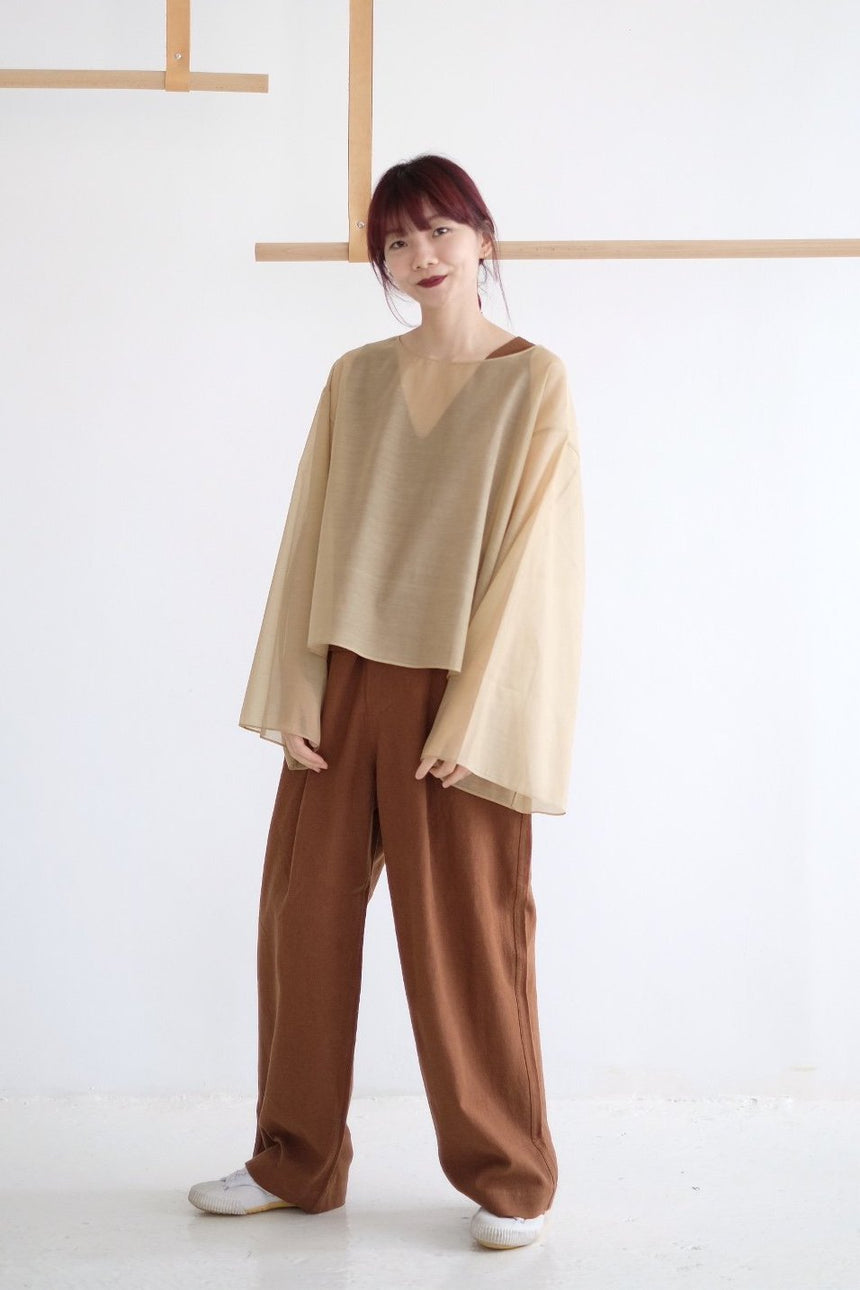 RELAXED LINEN TROUSERS /brick