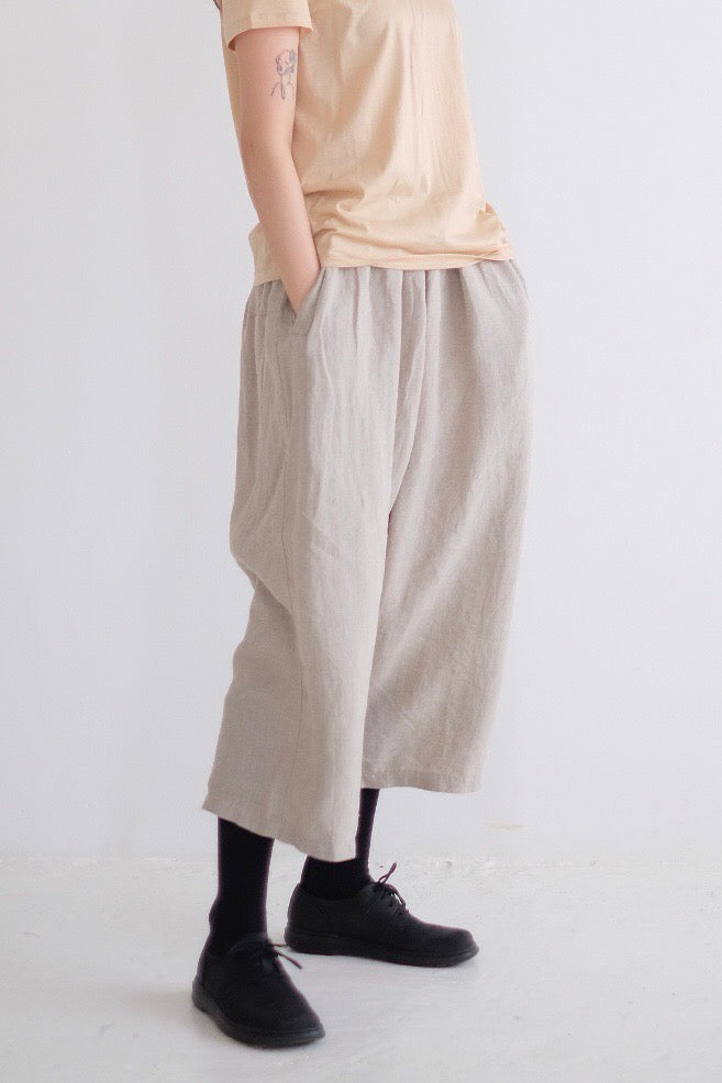 LINEN WIDE LEG PANTS ( beige )