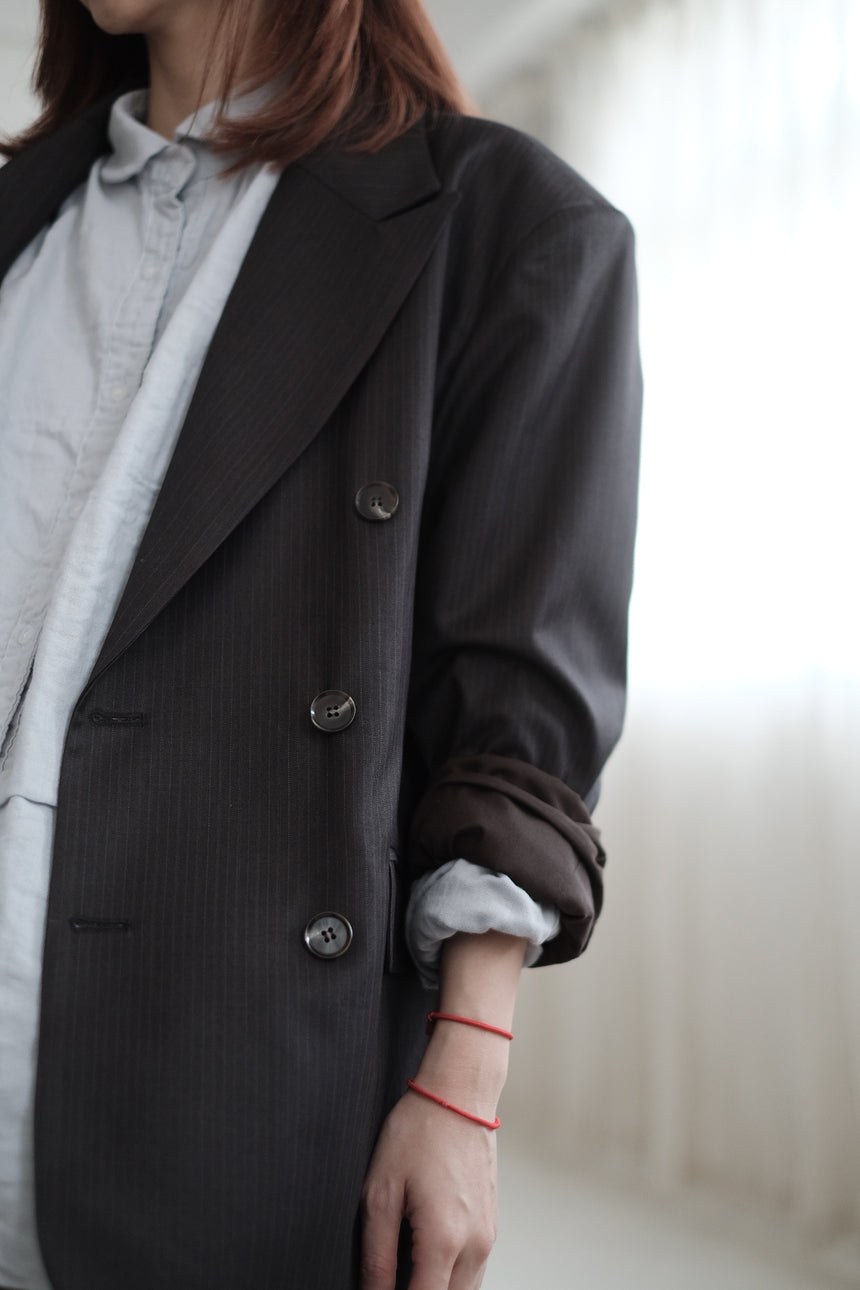 STRIPED BOYFRIEND BLAZER (GREY)