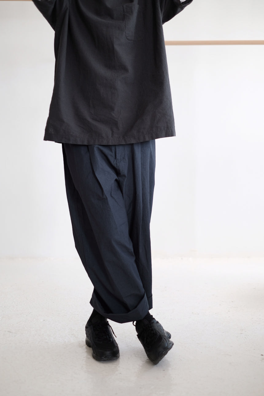 COTTON WIDE LEG TROUSERS (navy)