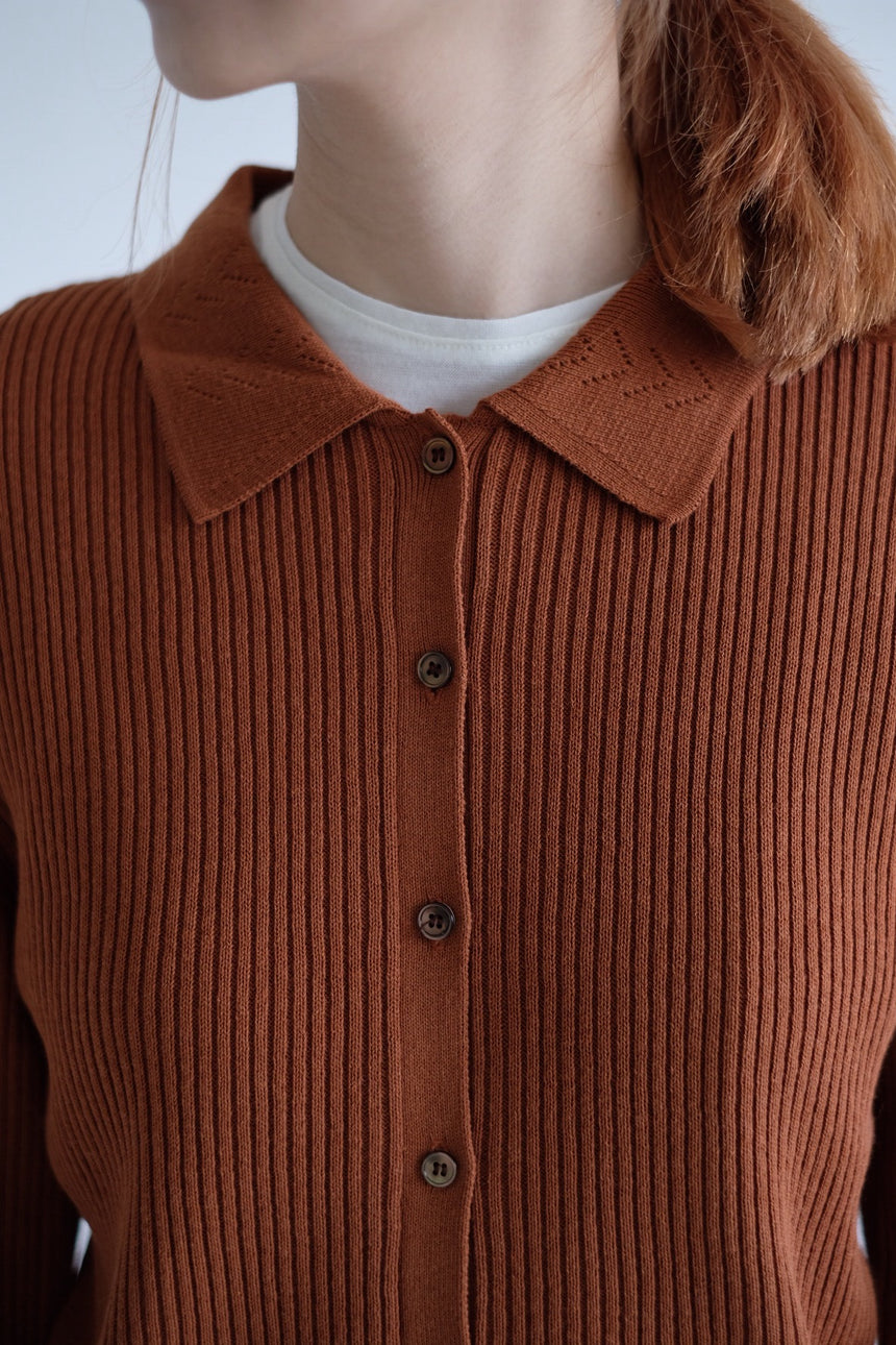 Brown Flower Collar Cardigan