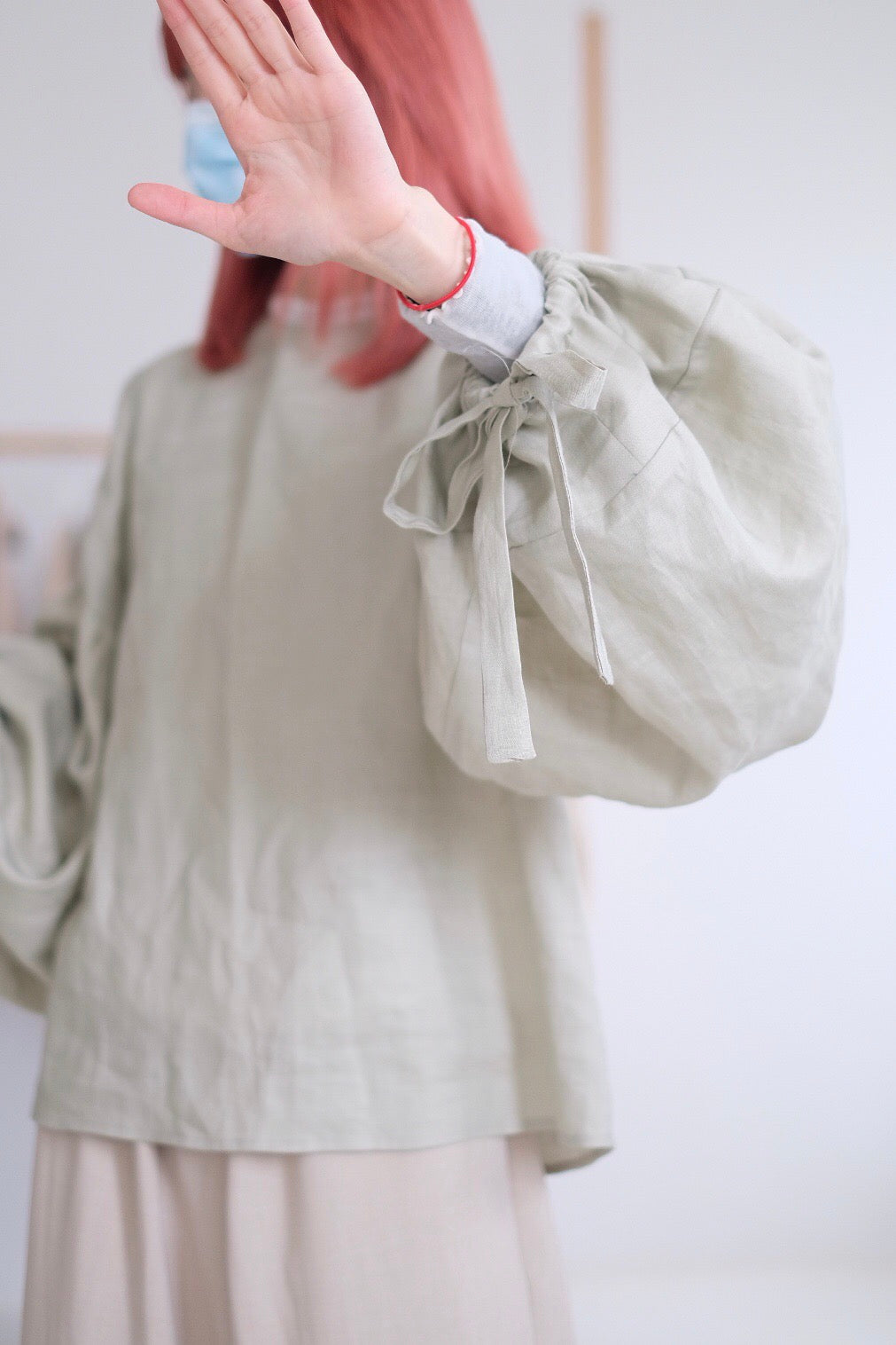 BUBBLE LINEN BLOUSE
