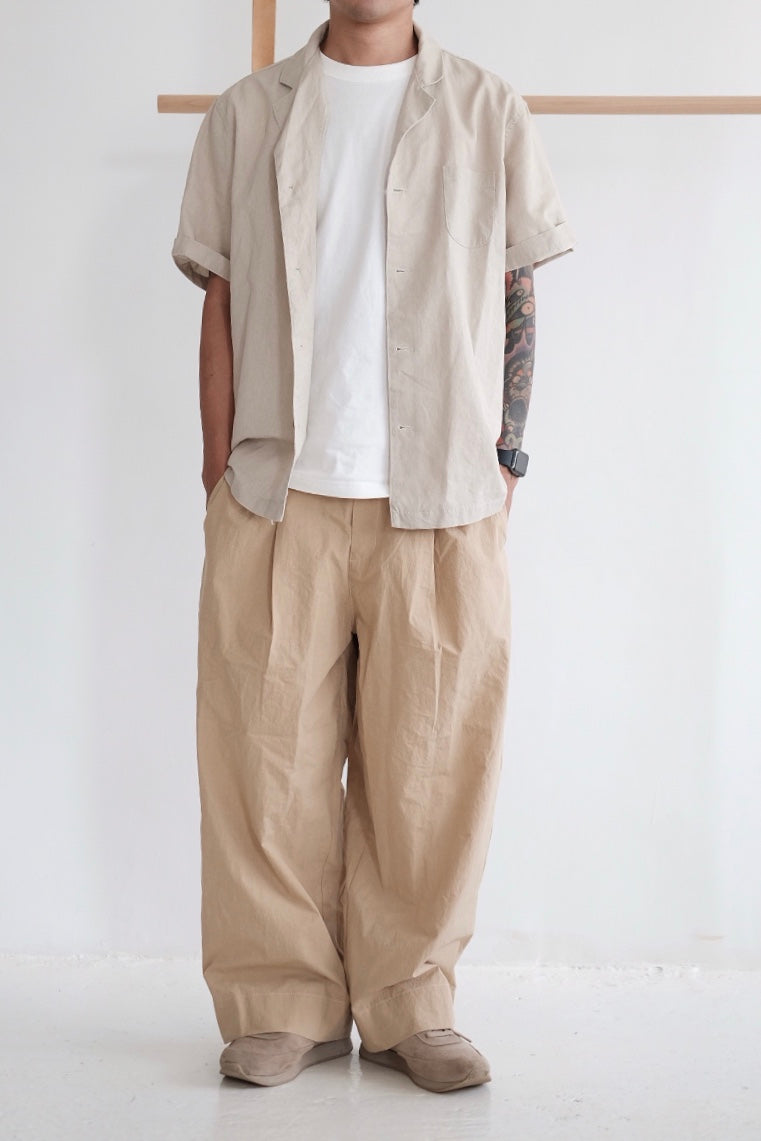 COTTON WIDE LEG TROUSERS (camel)