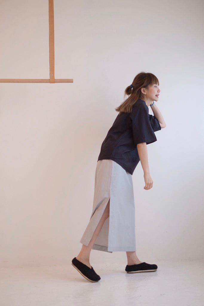 ELASTIC-WAIST STRAIGHT SKIRT