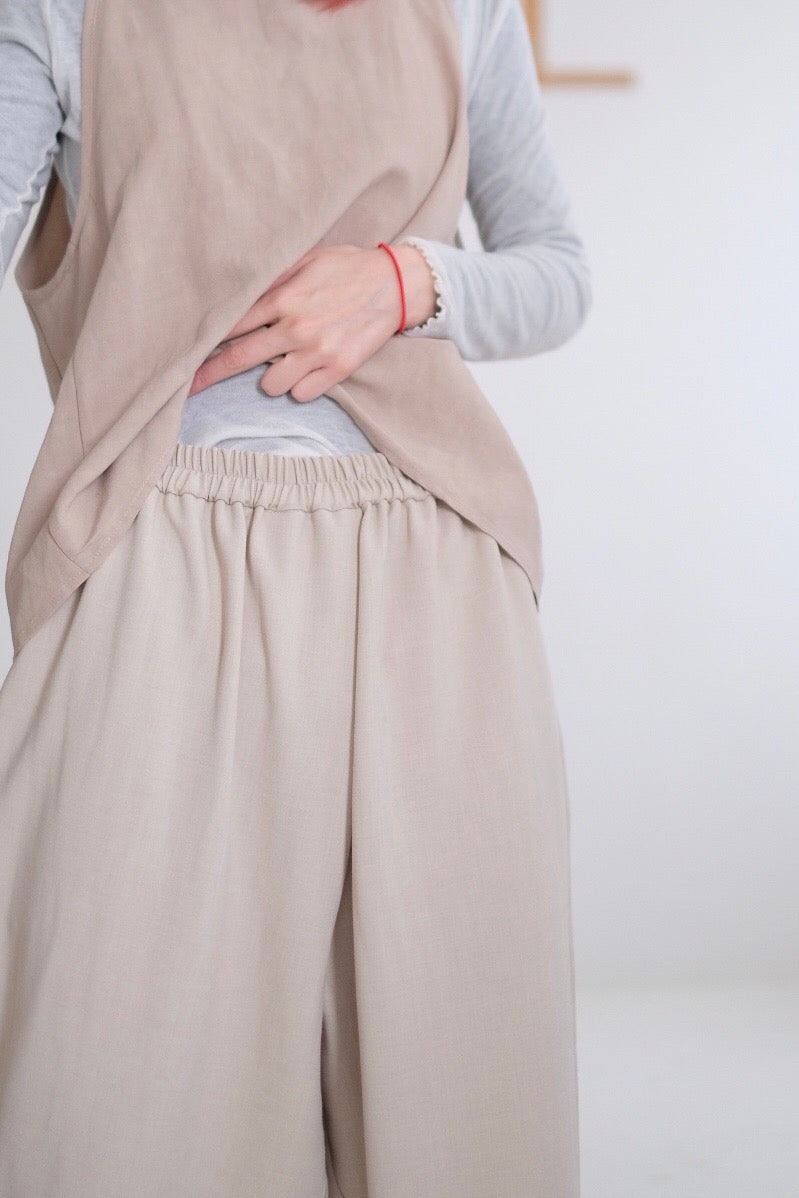 SATIN CROPPED WIDE LEG PANTS