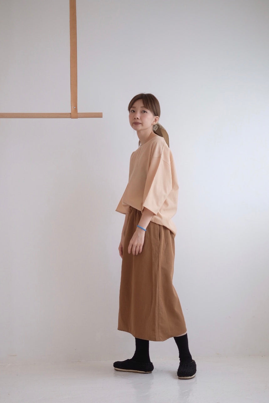 LINEN A-LINE SKIRT IN BROWN