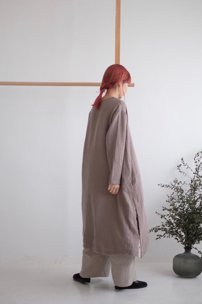 GRANDMA LINEN DRESS(khaki)