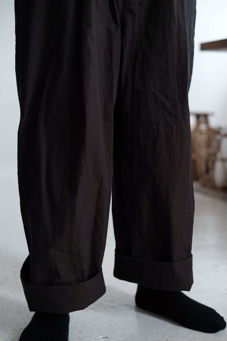COTTON WIDE LEG TROUSERS (brown)