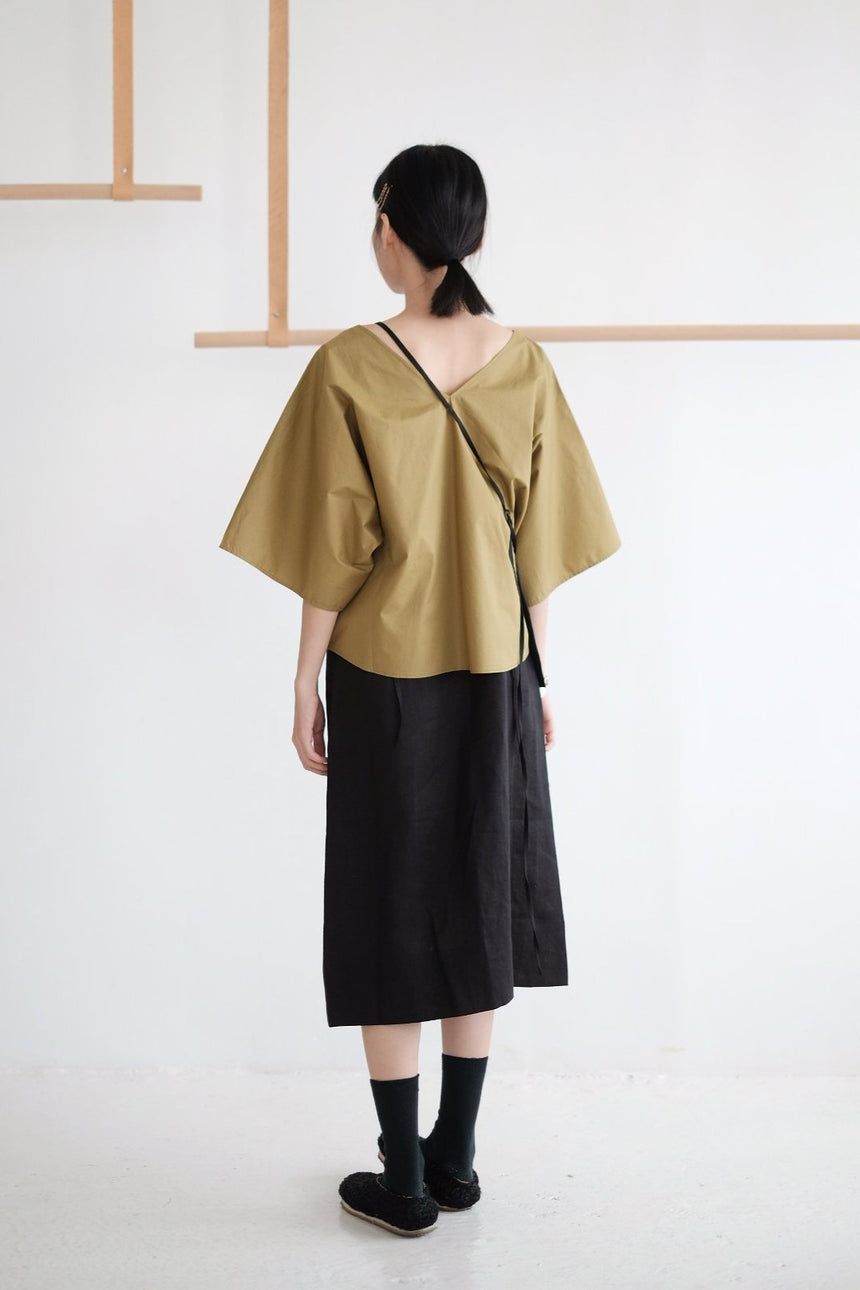 COTTON SQUARED BLOUSE /mustard