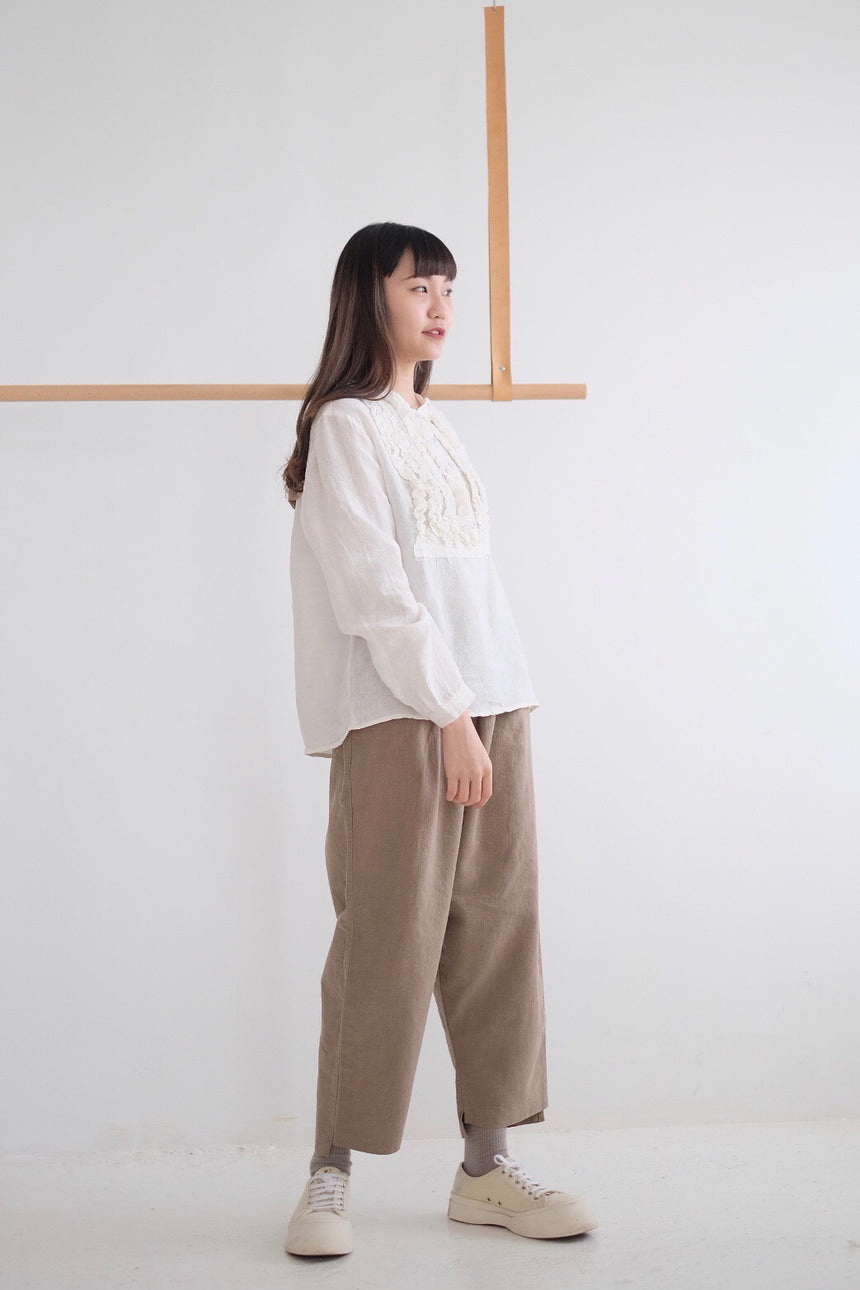 LINEN SHIRT IN FATHER COLLAR/ WHITE