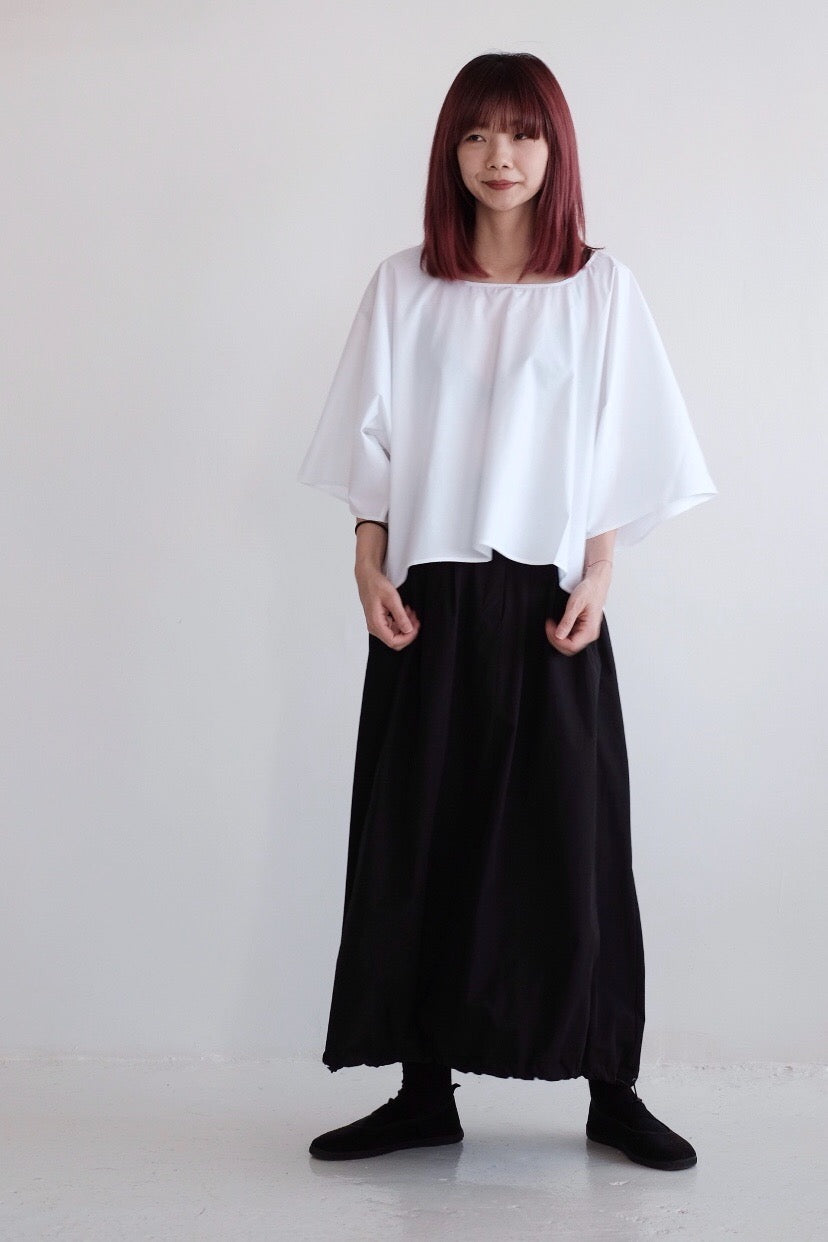 COTTON SQUARED BLOUSE /white