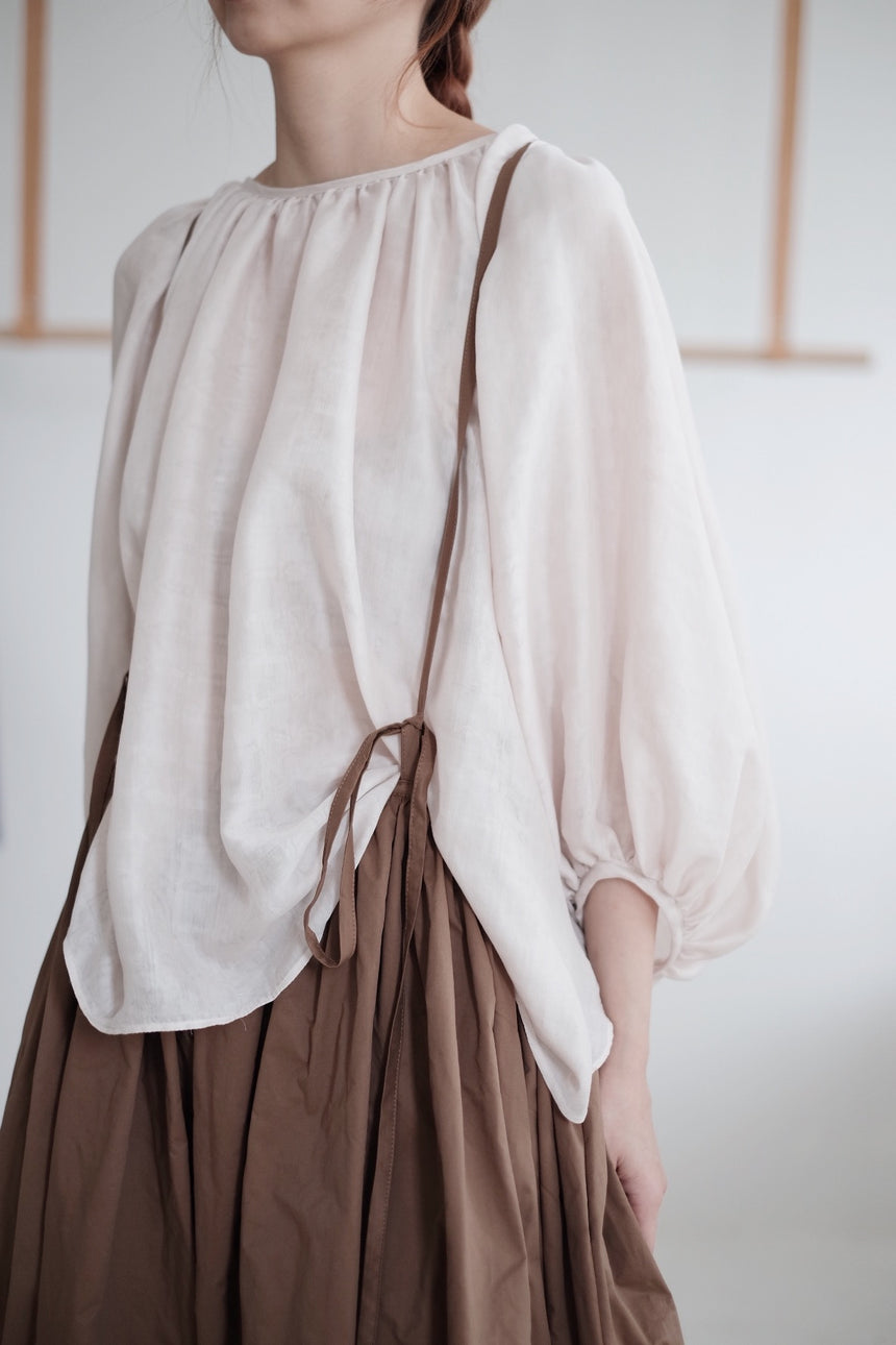 BROWN SKIRT WITH NARROW STRAPS