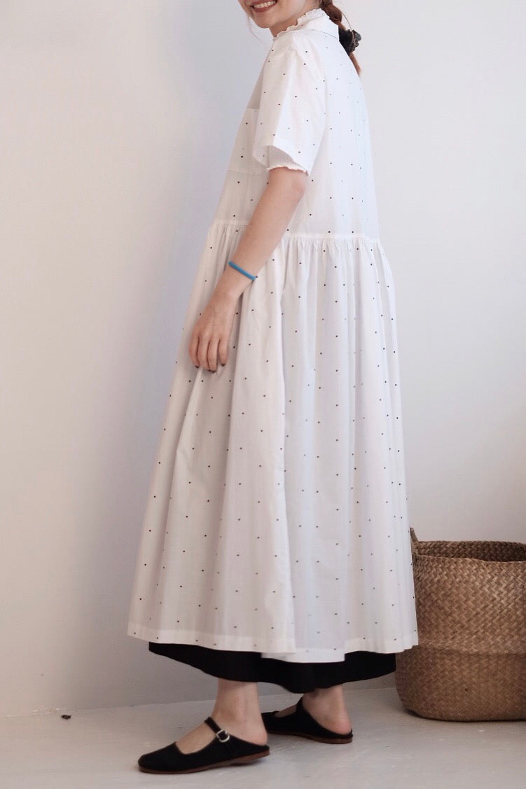 Dotted Gather Dress in white