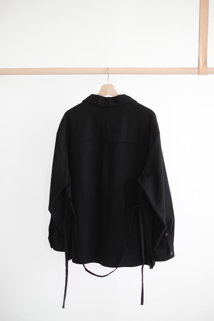 WIDE COLLAR SHIRT IN WOOL