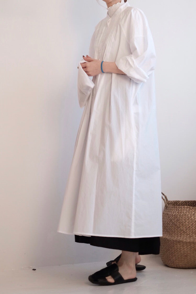 Gather Dress in Father Collar