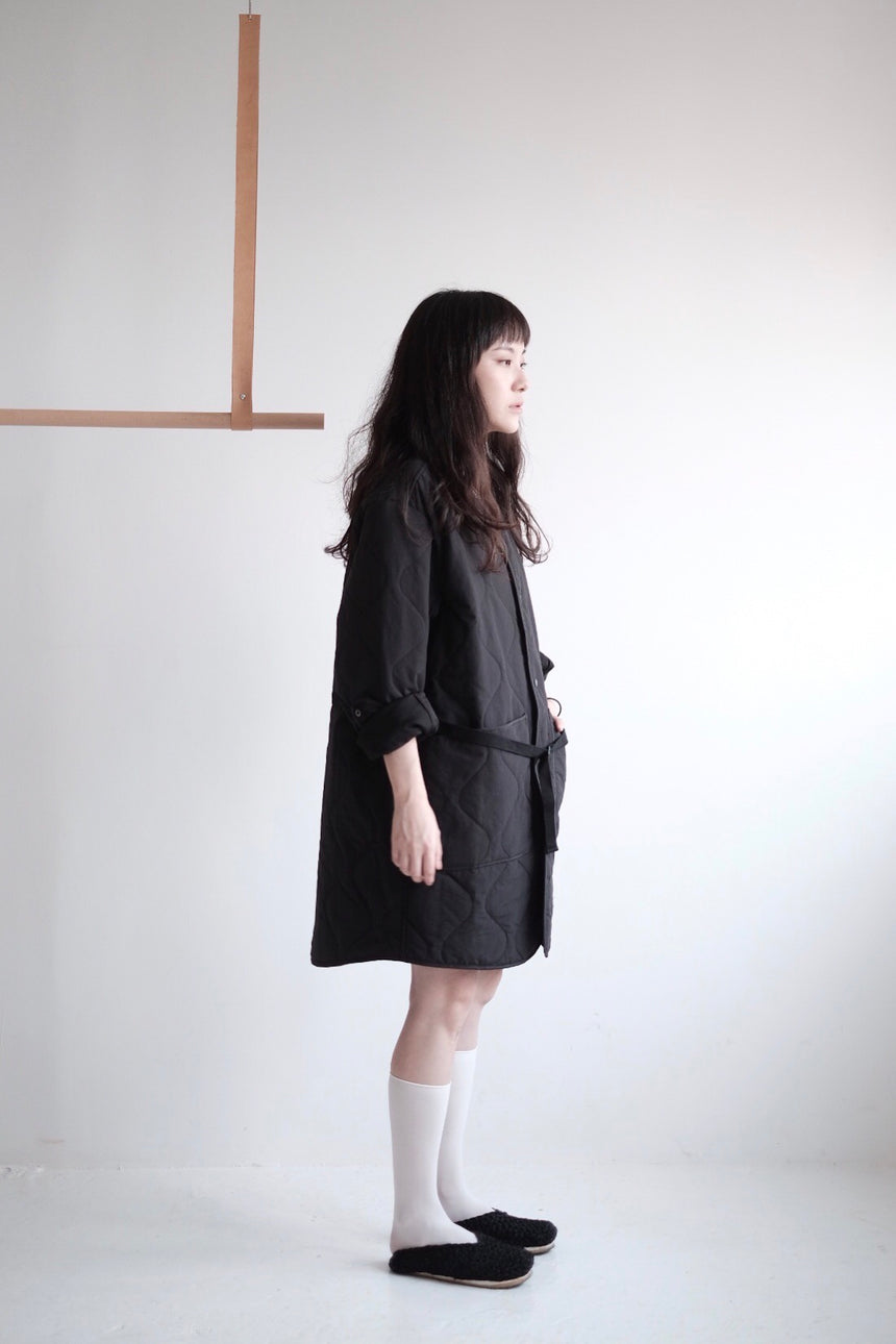 QUILTED JACKET/DRESS (BLACK)