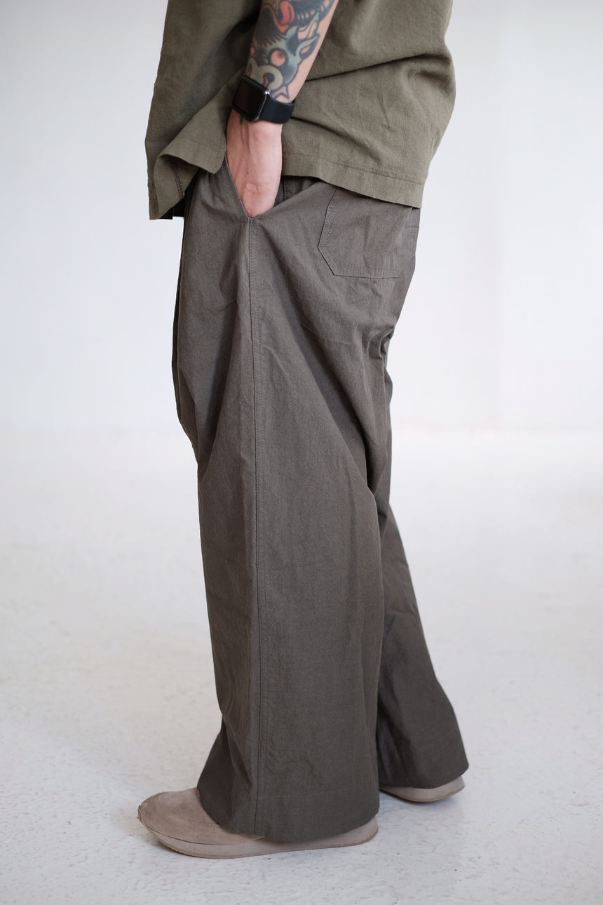 COTTON WIDE LEG TROUSERS (olive)