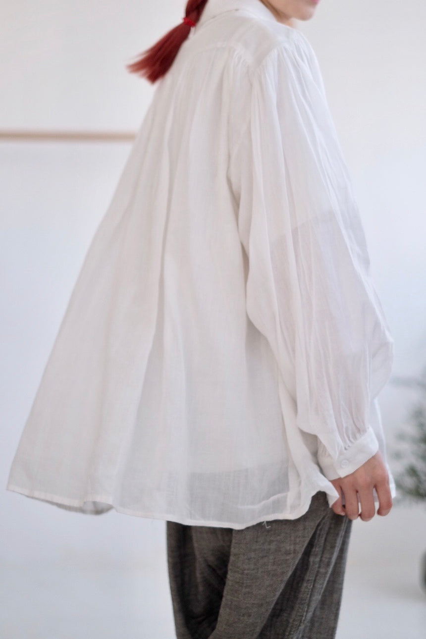 MER SHEER GATHERED SHIRT