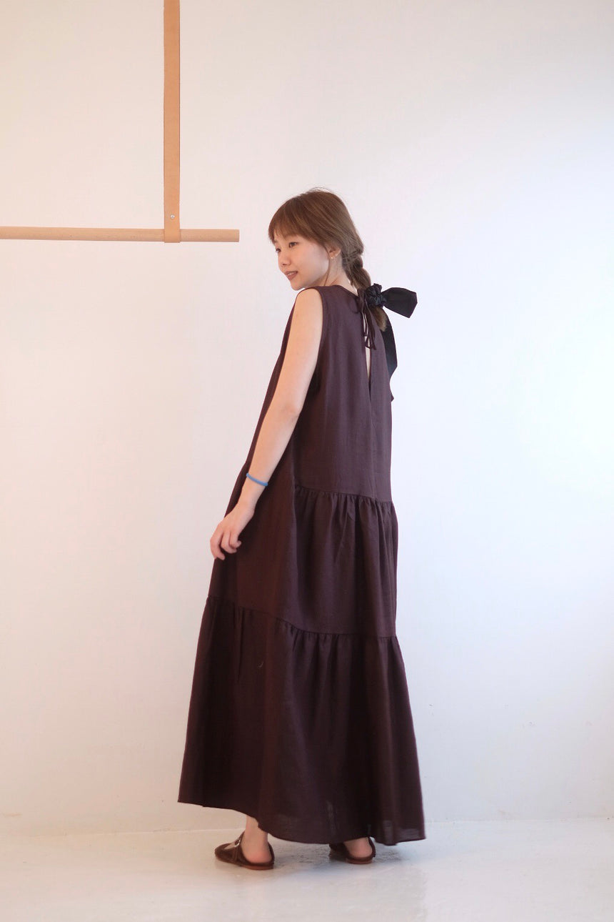 RED WINE GATHERED A-LINE DRESS