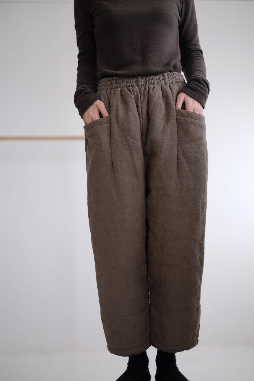 QUILTED COTTON PANTS (army green)