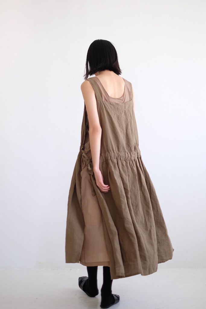 OIII LINEN GATHERED DRESS