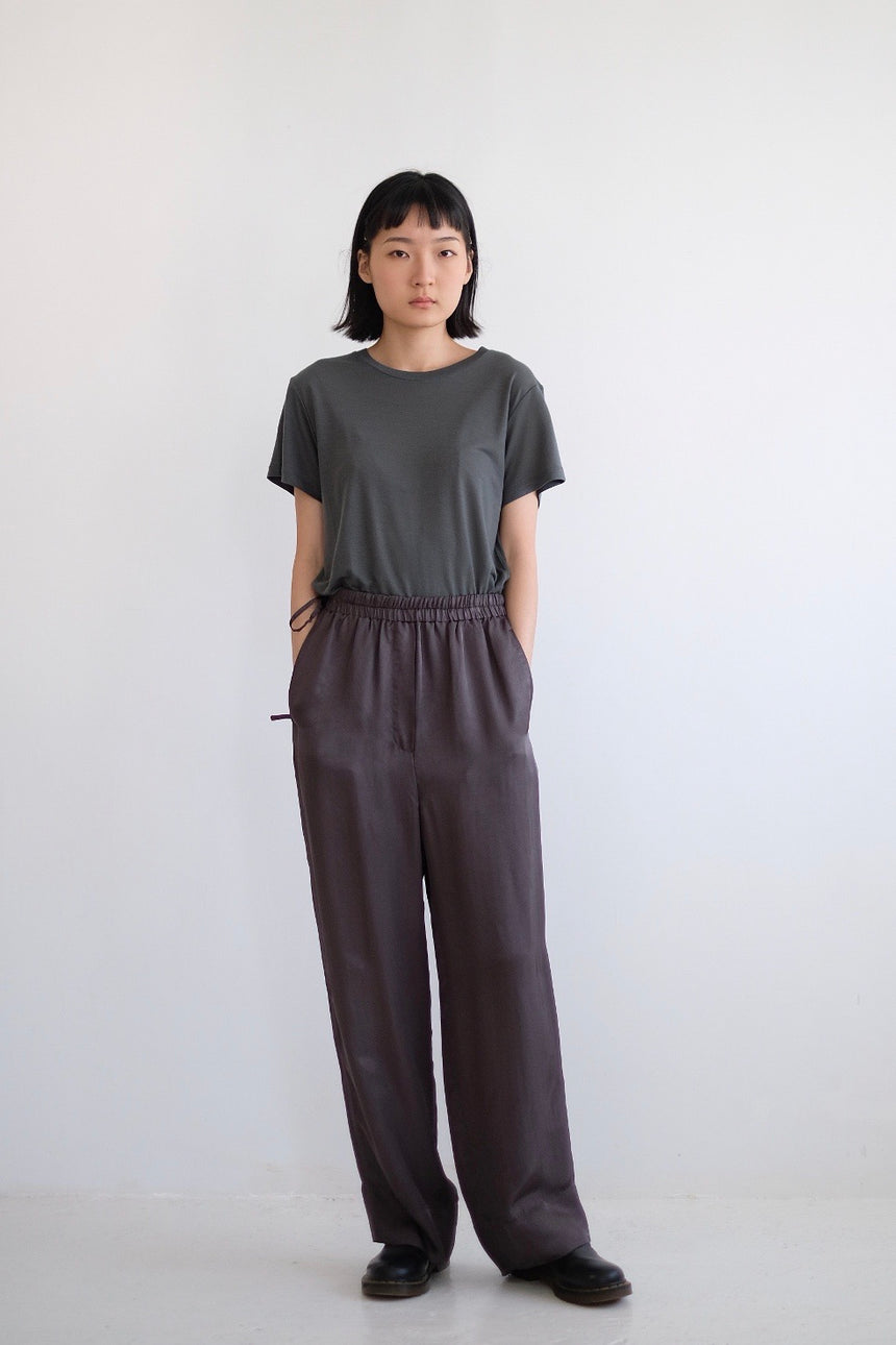ELODIE SILKY WIDE LEG PANTS (GREY)