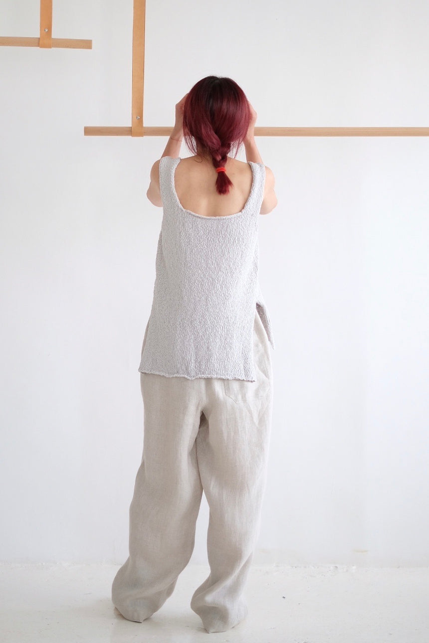 RELAXED LINEN WIDE LEG PANTS