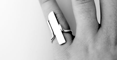 Freedom ring artisan heirloom jewellery by M of Copenhagen shown on hand