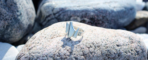 Galaxy ring by M of Copenhagen sitting on a rock