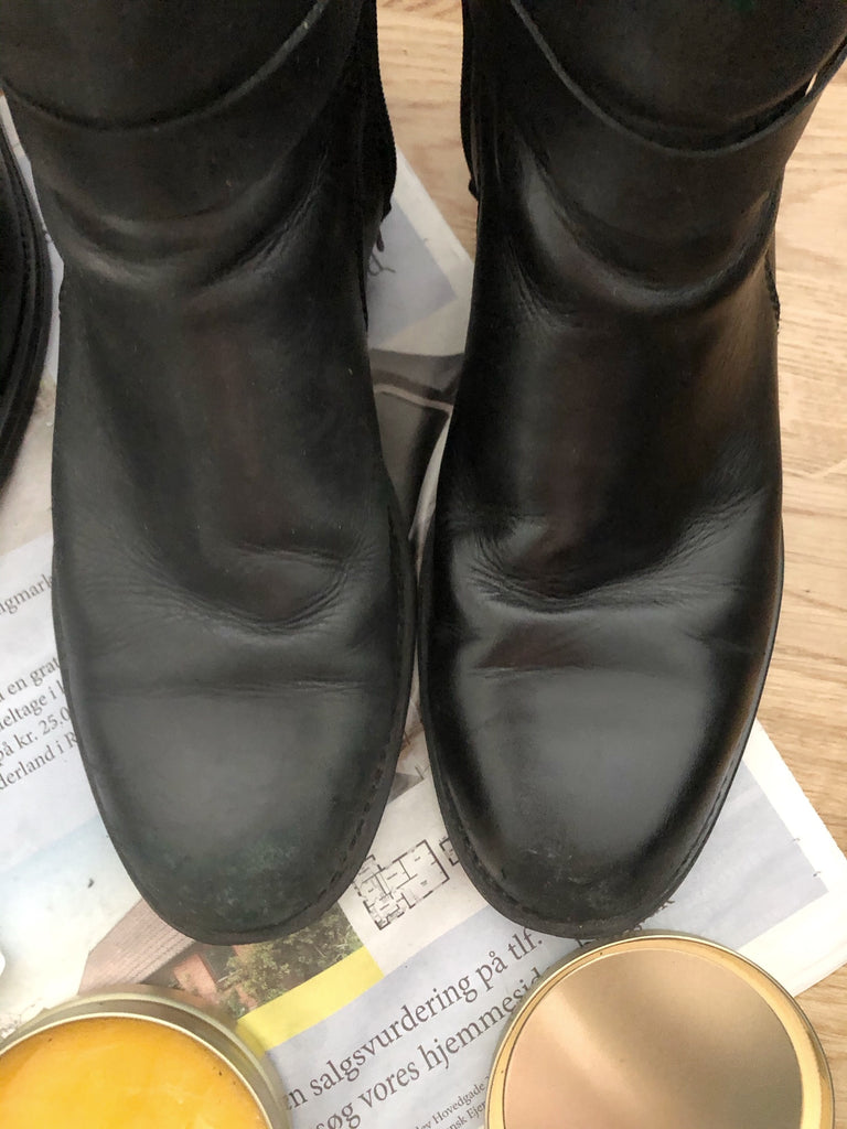 Results from greasing shoes with leather grease