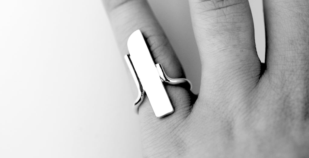 Artisan made modern heirloom Freedom ring by eco jeweller M of Copenhagen show on hand