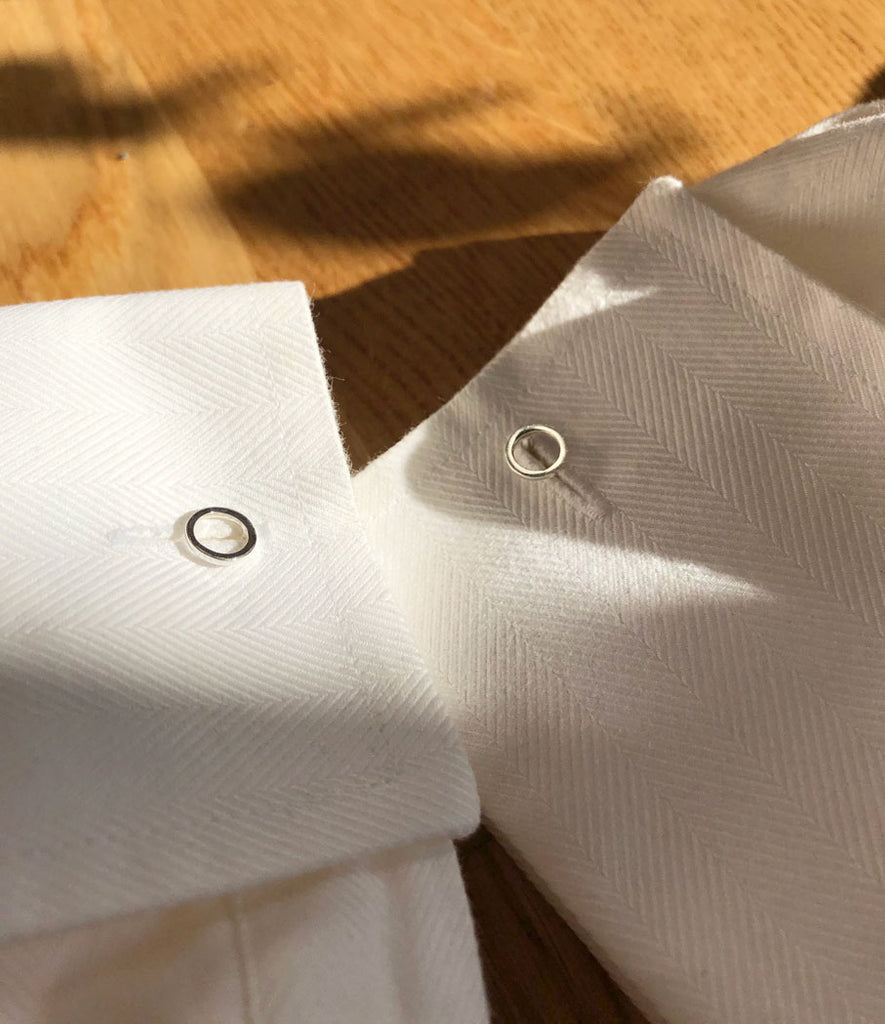 Continuum cufflinks closeup on sleeves by M of Copenhagen