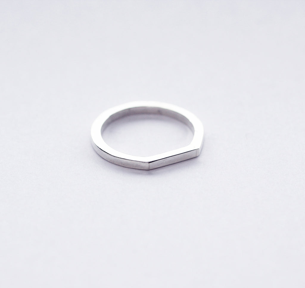 Edge ring by M of Copenhagen handmade from recycled 925 silver on white background