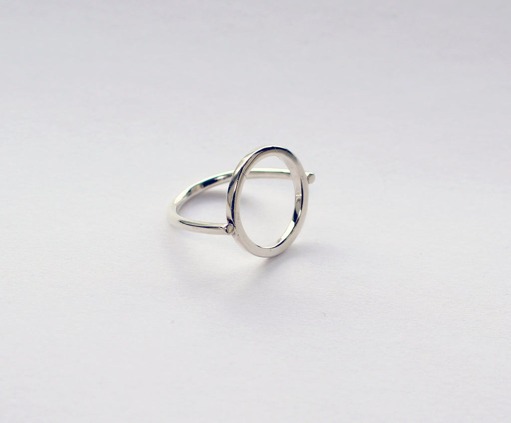 Hoop ring by M of Copenhagen form recycled silver showcased on white