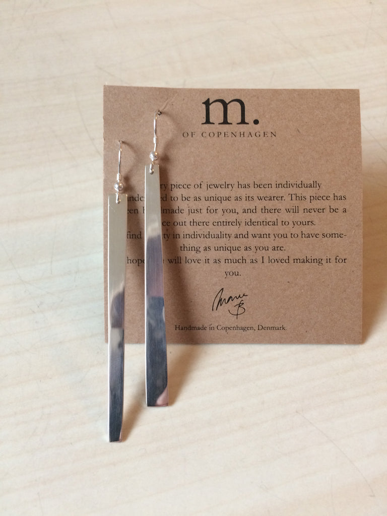 Divided earrings diagonally cut silver pendant earrings by M of Copenhagen