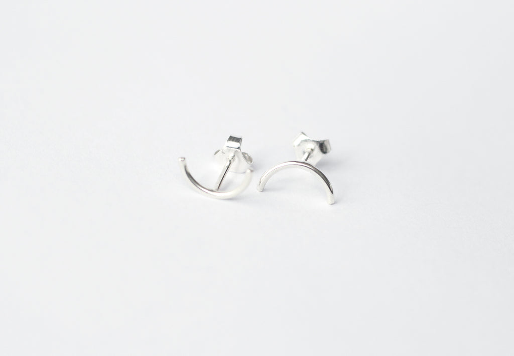 Luna earrings by M of Copenhagen made from recycled silver viewed from the front2