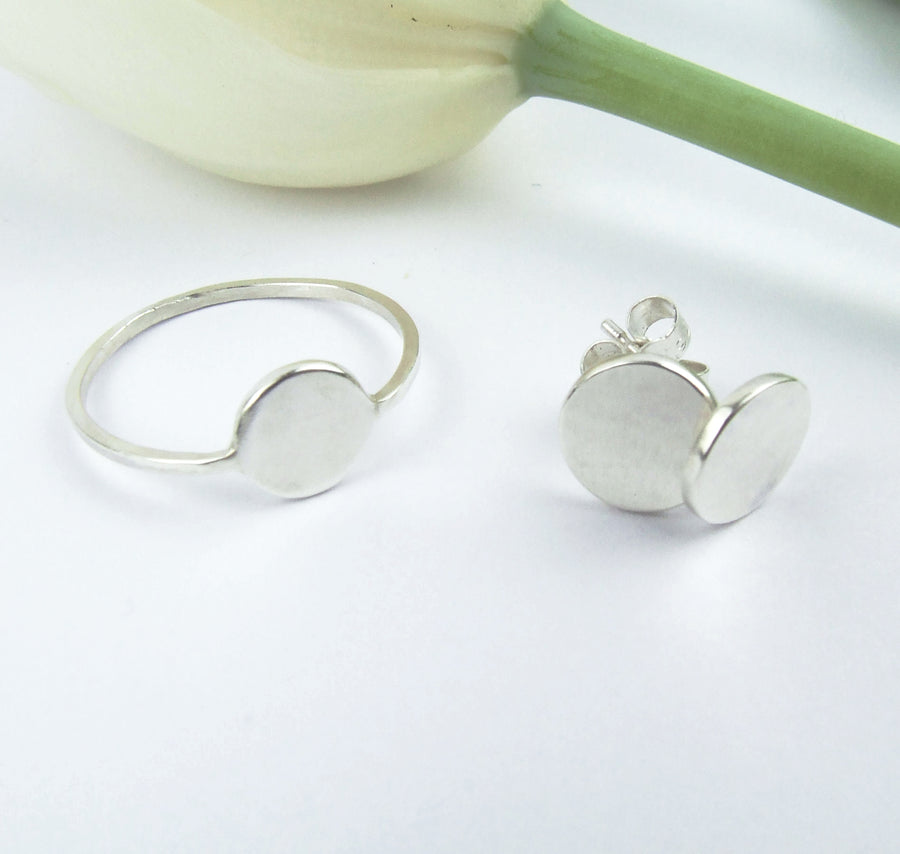 Moon earrings & ring by M of Copenhagen made from recycled silver