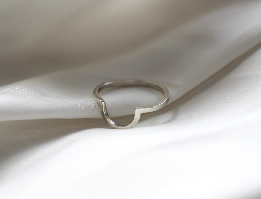 Mykonos Ring on white silk from front