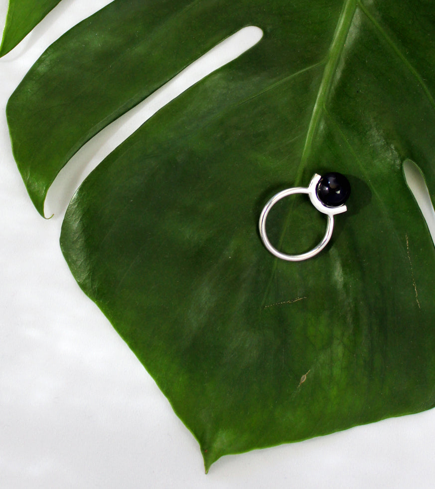 Positano ring by M of Copenhagen made with recycled silver and onyx