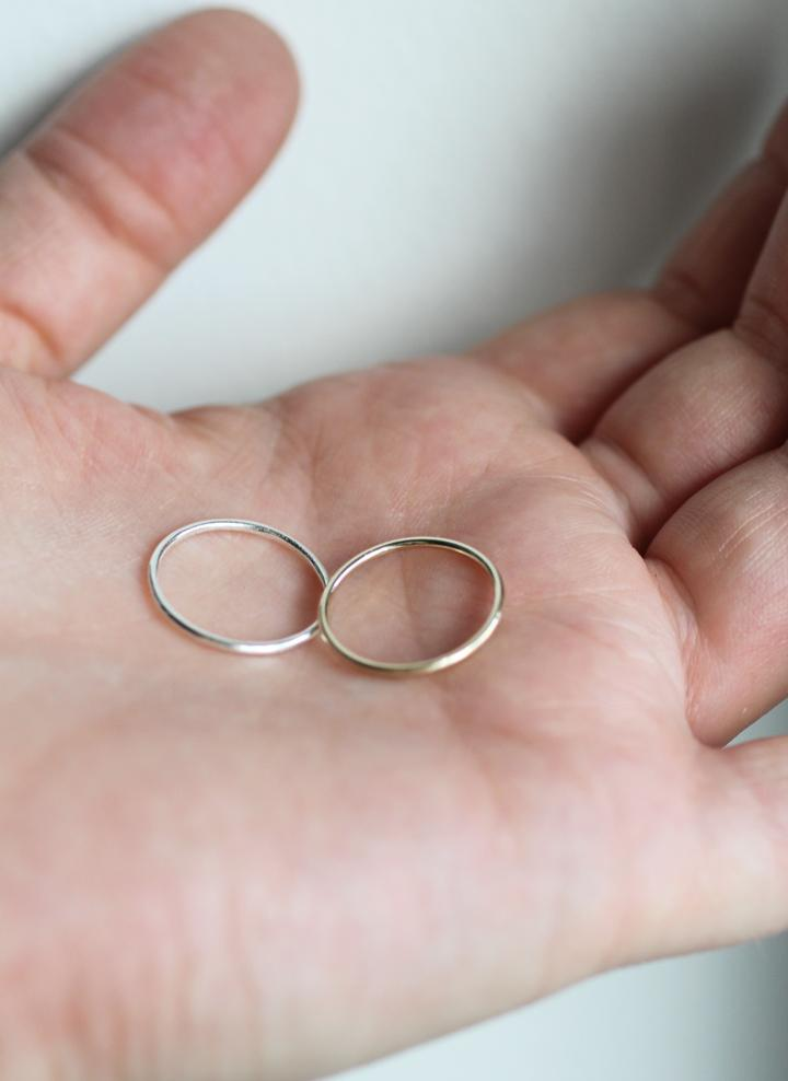 Stacking rings in gold and silver by M of Copenhagen